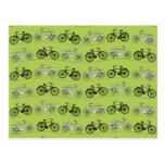 Impresión del modelo de las bicicletas del verde d tarjeta postal