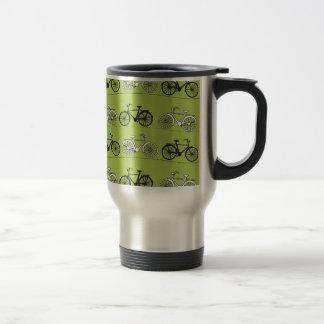 Impresión del modelo de las bicicletas del verde d taza de viaje de acero inoxidable