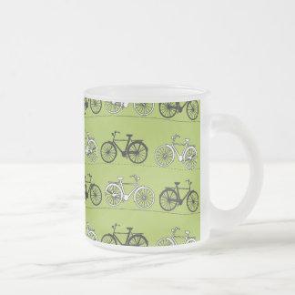 Impresión del modelo de las bicicletas del verde d taza cristal mate