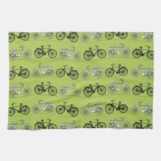 Impresión del modelo de las bicicletas del verde toalla de cocina