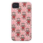 Impresión del mono del calcetín del corazón de la  iPhone 4 Case-Mate fundas