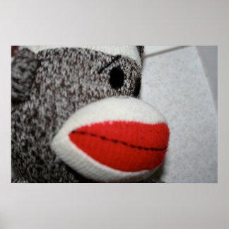 Impresión del mono del calcetín póster