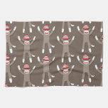 Impresión del mono del calcetín toalla de cocina