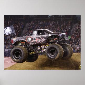 Impresión del monster truck del metal póster