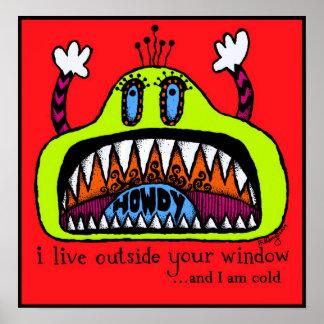 Impresión del monstruo de la ventana póster