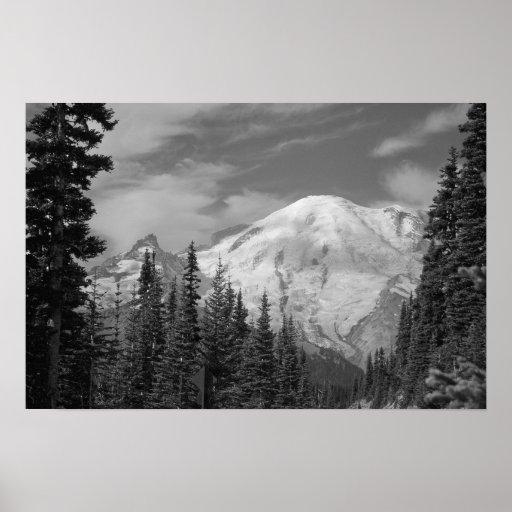 Impresión del Monte Rainier B/W Posters