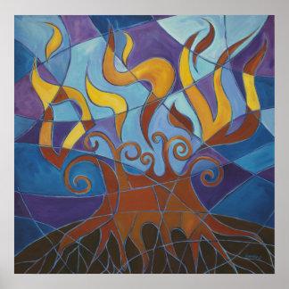 Impresión del mosaico II de la zarza ardiente Poster
