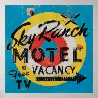 Impresión del motel del rancho del cielo póster