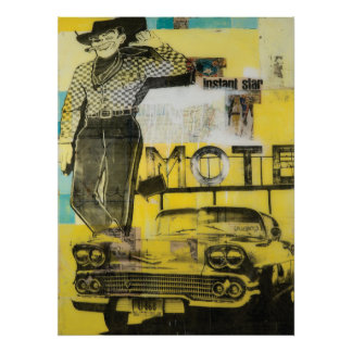 Impresión del motel del vaquero póster