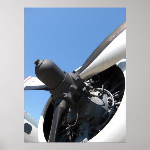 Impresión del motor de avión poster