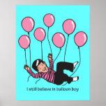 Impresión del muchacho del globo poster