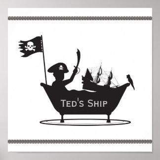 Impresión del muchacho del pirata póster