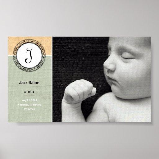 Impresión del nacimiento de Raine del jazz Poster