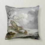 Impresión del navidad del paisaje del invierno del almohadas