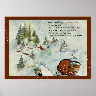 Impresión del navidad Nevado del vintage Posters