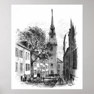 Impresión del norte vieja de la iglesia póster
