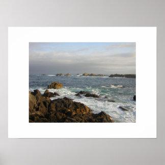 Impresión del océano de Monterey Póster