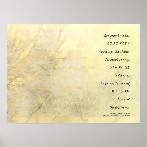 Impresión del oro amarillo del rezo de la serenida posters