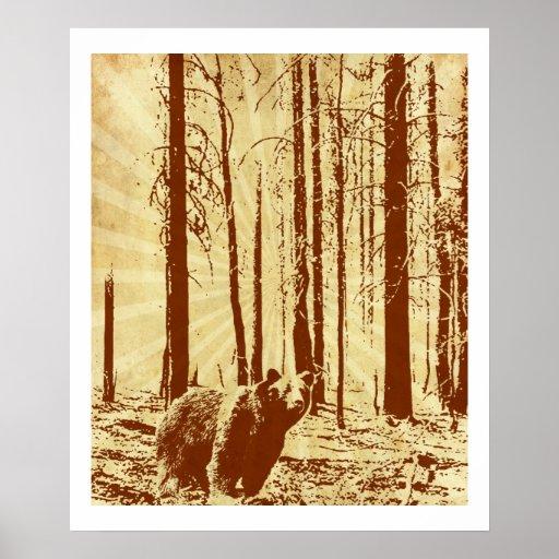 Impresión del oso del vintage póster