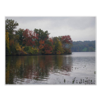 Impresión del paisaje del río Hudson Póster