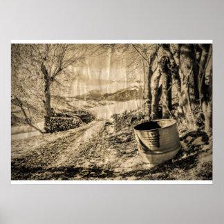 Impresión del paisaje del vintage de Italia Póster