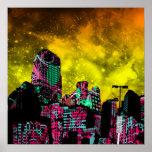 Impresión del paisaje urbano poster