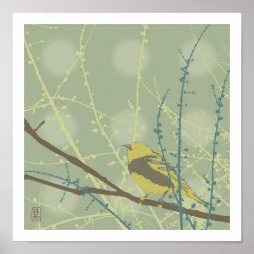 Impresión del pájaro de los brotes de la primavera póster