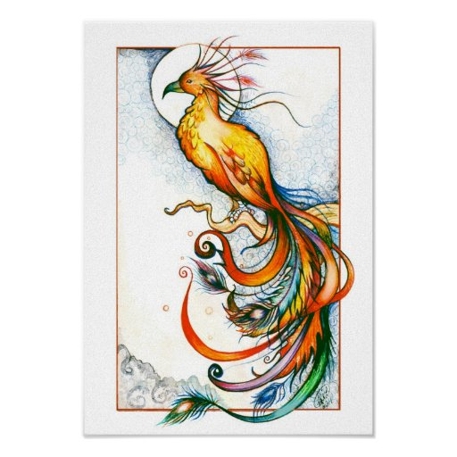 Impresión del pájaro del fuego póster