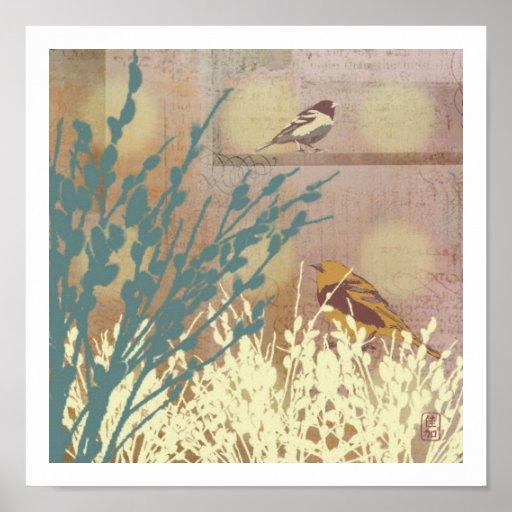 Impresión del pájaro del sauce de gatito de Rosego Posters