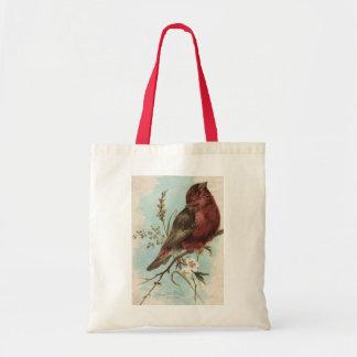 Impresión del pájaro del vintage bolsas lienzo
