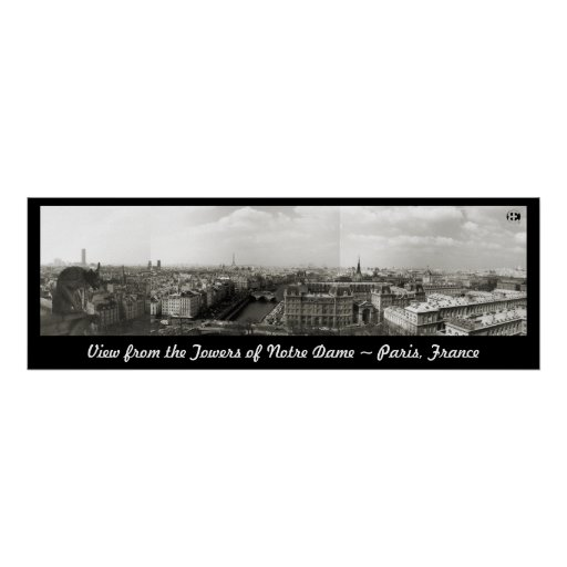 Impresión del panorama de París (efecto del platin Póster