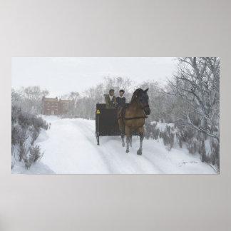 Impresión del paseo del trineo del invierno póster