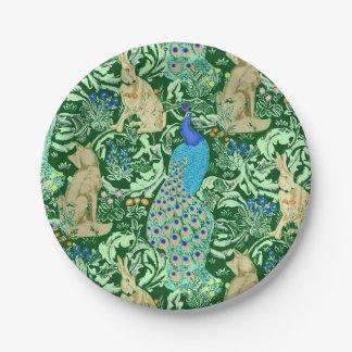 Impresión del pavo real de Nouveau del arte, azul Plato De Papel 17,78 Cm