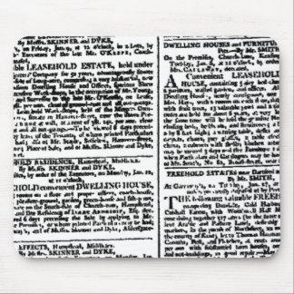 Impresión del periódico (negra y blanco) Mousepad Tapetes De Ratón