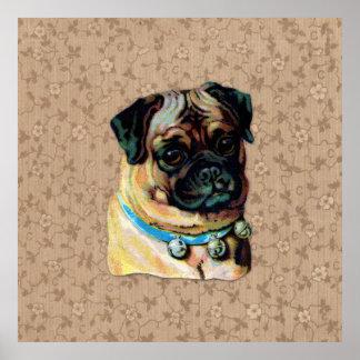 Impresión del perro del barro amasado del vintage impresiones