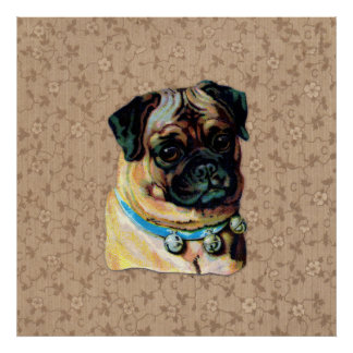 Impresión del perro del barro amasado del vintage póster