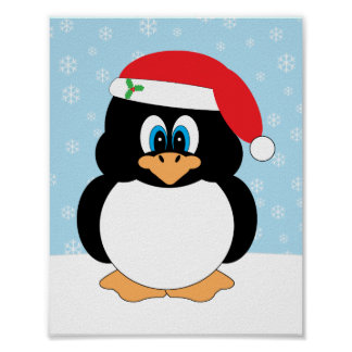 Impresión del pingüino del navidad poster