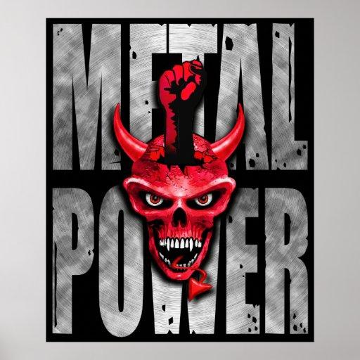 Impresión del poder de la música del metal póster