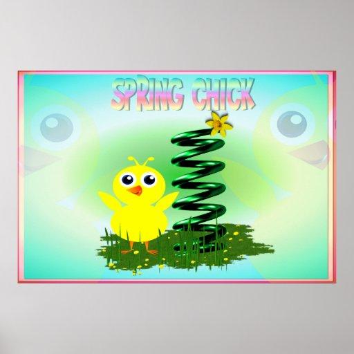 Impresión del polluelo de la primavera póster