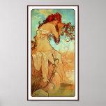 Impresión del poster: Arte Nouveau - Mucha - veran