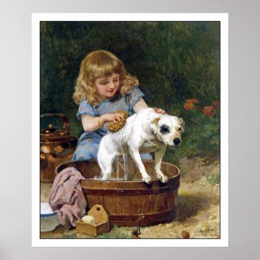 Impresión del poster: Dando al perro un baño - Póster