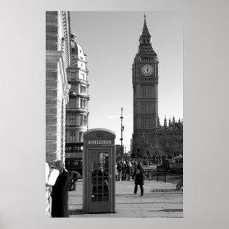 Impresión del poster de B/W de Big Ben Londres