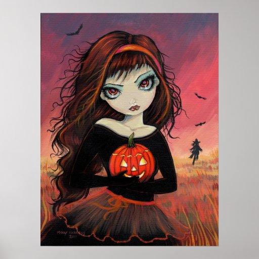 Impresión del poster de Halloween del fuego del ot