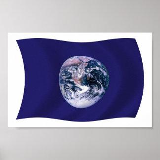 Impresión del poster de la bandera de la tierra