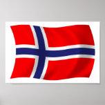 Impresión del poster de la bandera de Noruega