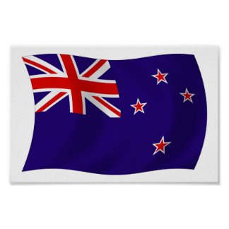 Impresión del poster de la bandera de Nueva Zeland