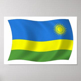 Impresión del poster de la bandera de Rwanda