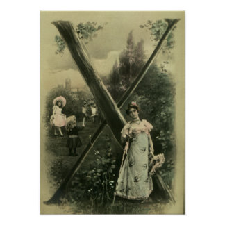 Impresión del poster de la letra X del monograma