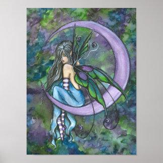 Impresión del poster de la luna de la lavanda de A