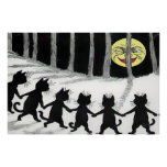 Impresión del poster de la luna del gato negro
